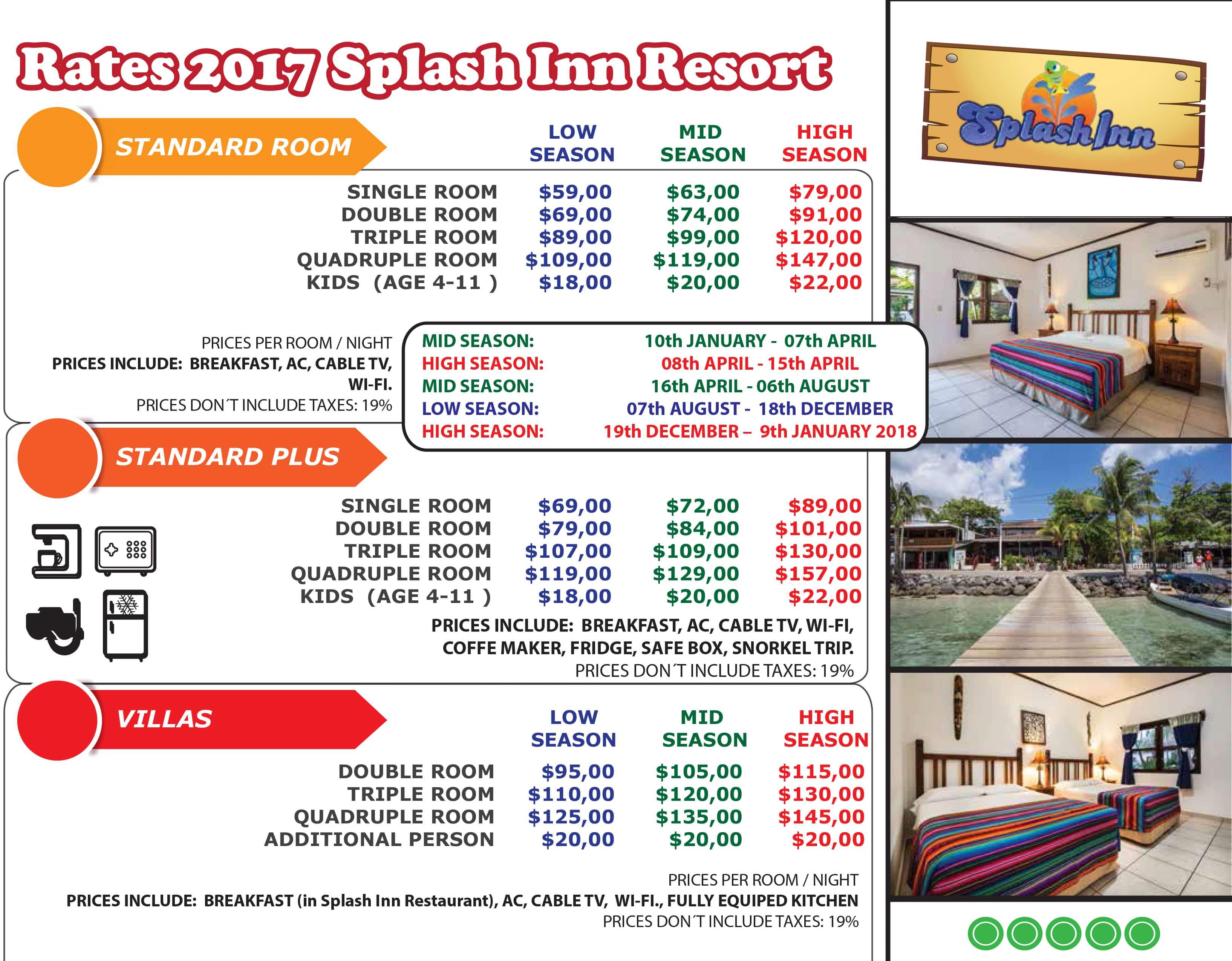 TARIFARIO 2017 + villas