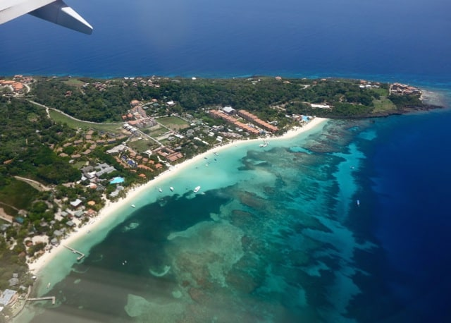 Aerial view of Roatan