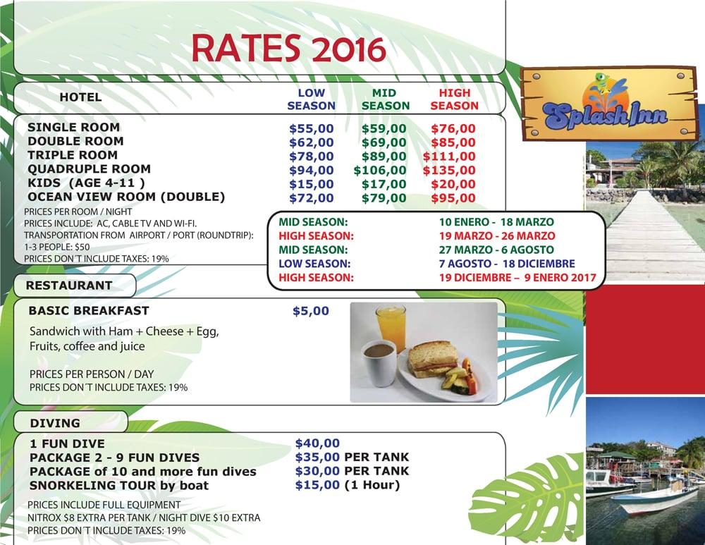 Hotel Rates for Roatan Splash Inn