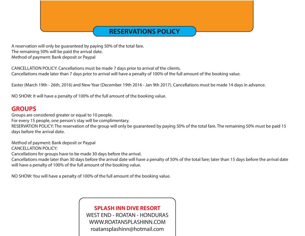 Hotel Rate Information for Roatan Splash Inn