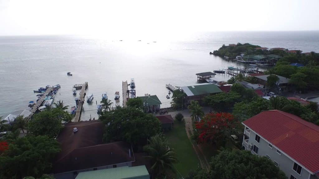 Aerial view of West End, Roatan, and Splash Inn Hotel